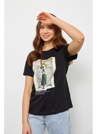 Setre Siyah Baskılı Kısa Kol T-Shirt Siyah
